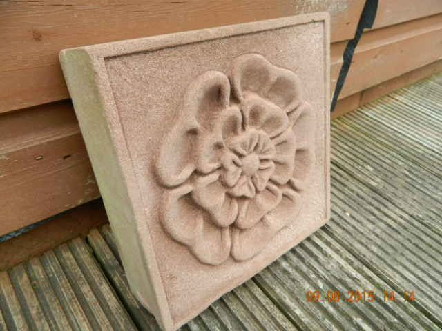 Tudor rose relief carving in red sandstone patterns designs
