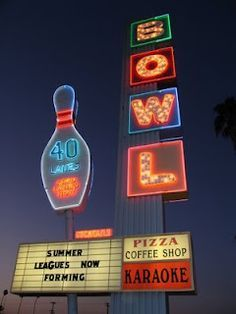 Neon Bowling Alley Signs Google Search Vintage Store Signs Googie Googie Architecture