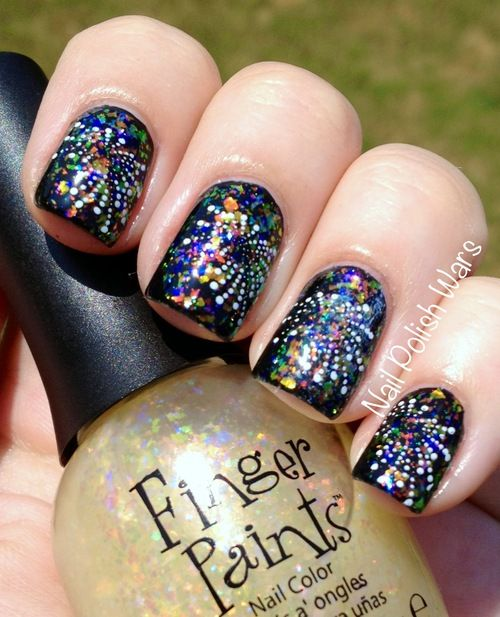 NYE fireworks nails in a jar nail art photography - Fireworks! Nails Pinterest Makeup, Flower Nail Designs And