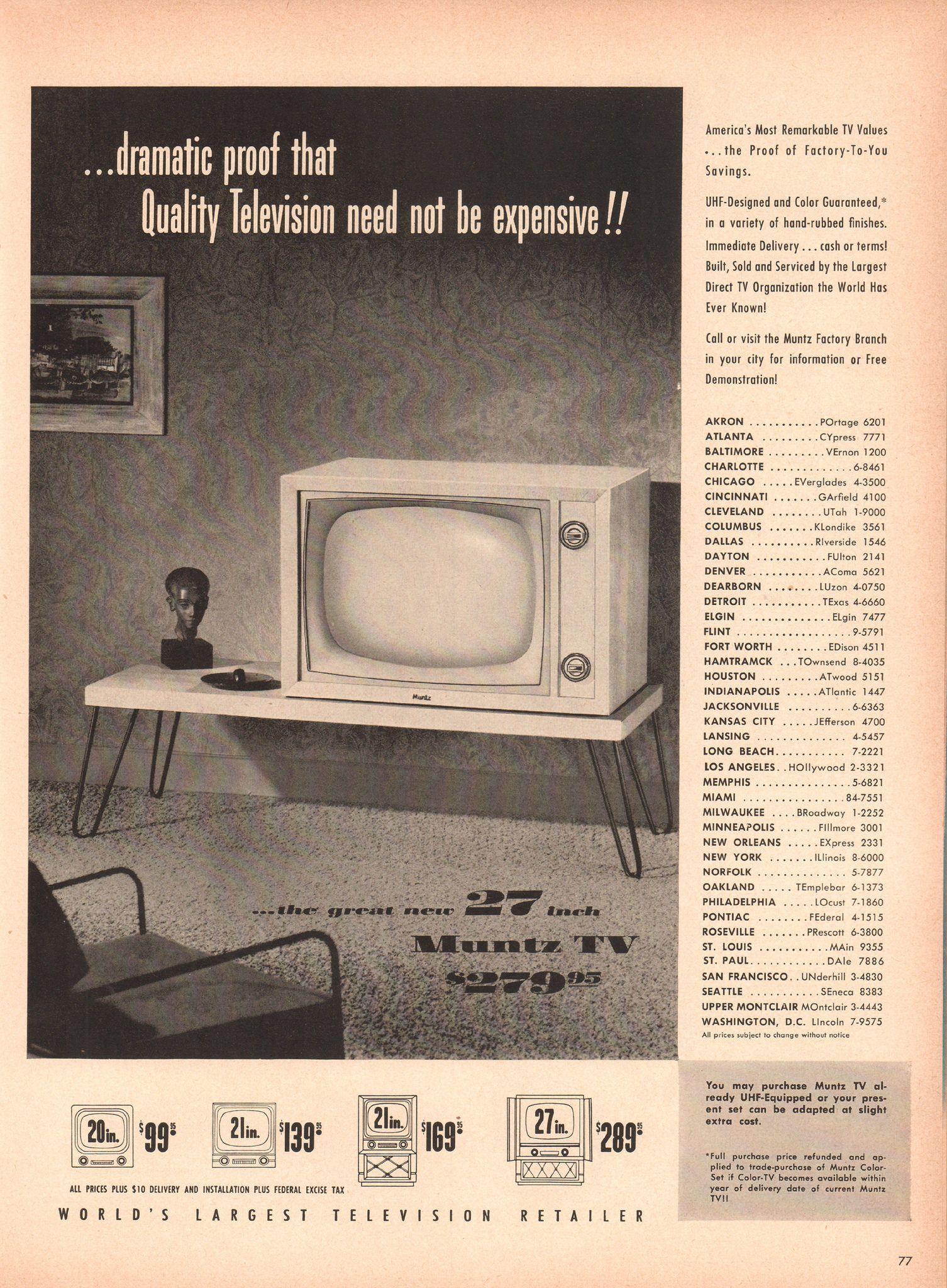 1953 Muntz Television Advertisement Life Magazine June 15