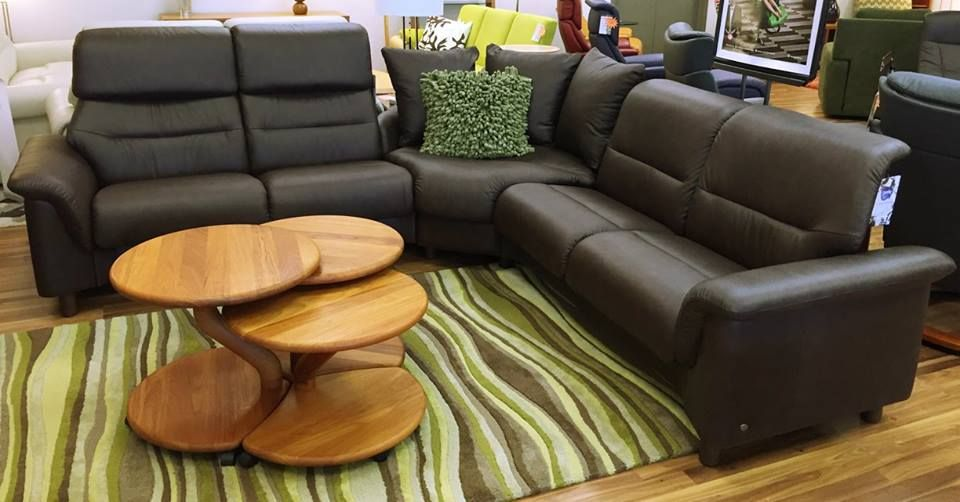 Ekornes Stressless Como Sectional Shown In Paloma Chocolate Leather Available At Scanhome Furnishings In Green Bay Sectional Ekornes Stressless Ekornes