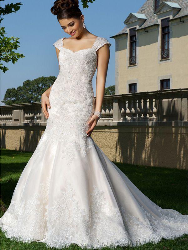 f5d002a14f395 2015 Style Trumpet Mermaid Straps Sweep Brush Train Organza Wedding Dresses   QS544