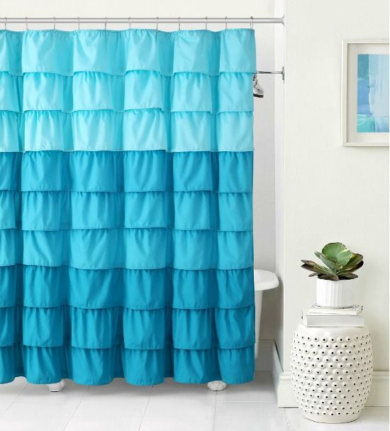 Romantic Blue Ruffle Shower Curtain Ruffle Shower Curtains Fabric Shower Curtains Curtains