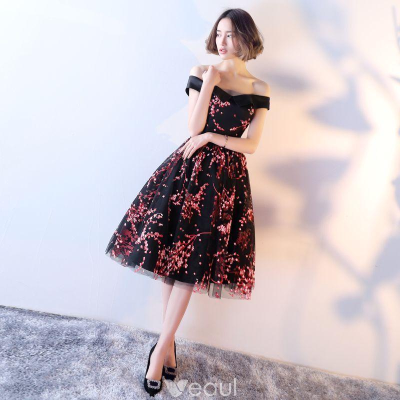 250a73f65b5 Chic   Beautiful Formal Dresses 2017 Evening Dresses Black A-Line    Princess Knee-Length Backless Off-The-Shoulder Short Sleeve Sash Printing