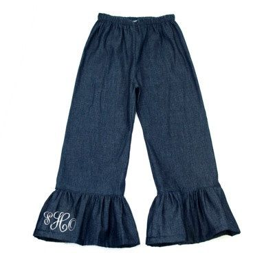 Hey, I found this really awesome Etsy listing at https://www.etsy.com/listing/159415957/personalized-denim-ruffle-pants