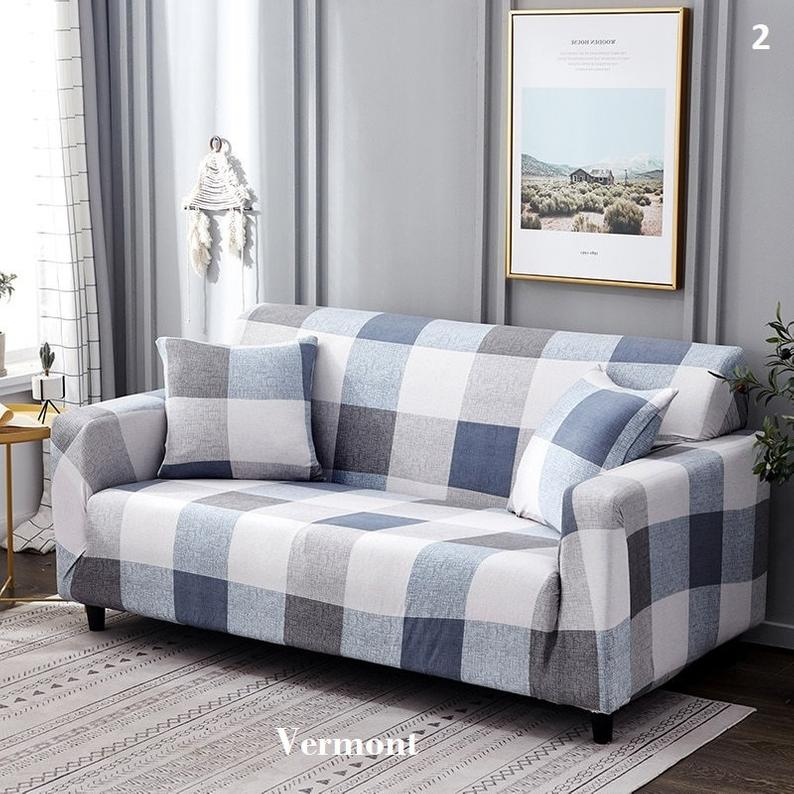 Sofa Cover Couch Cover Eco Slipcover Couch Protector Pattern Color Printed Slipcover Spandex Stretchable Polyester Fabric Soft Couch Covers Slipcovers Sofa Covers
