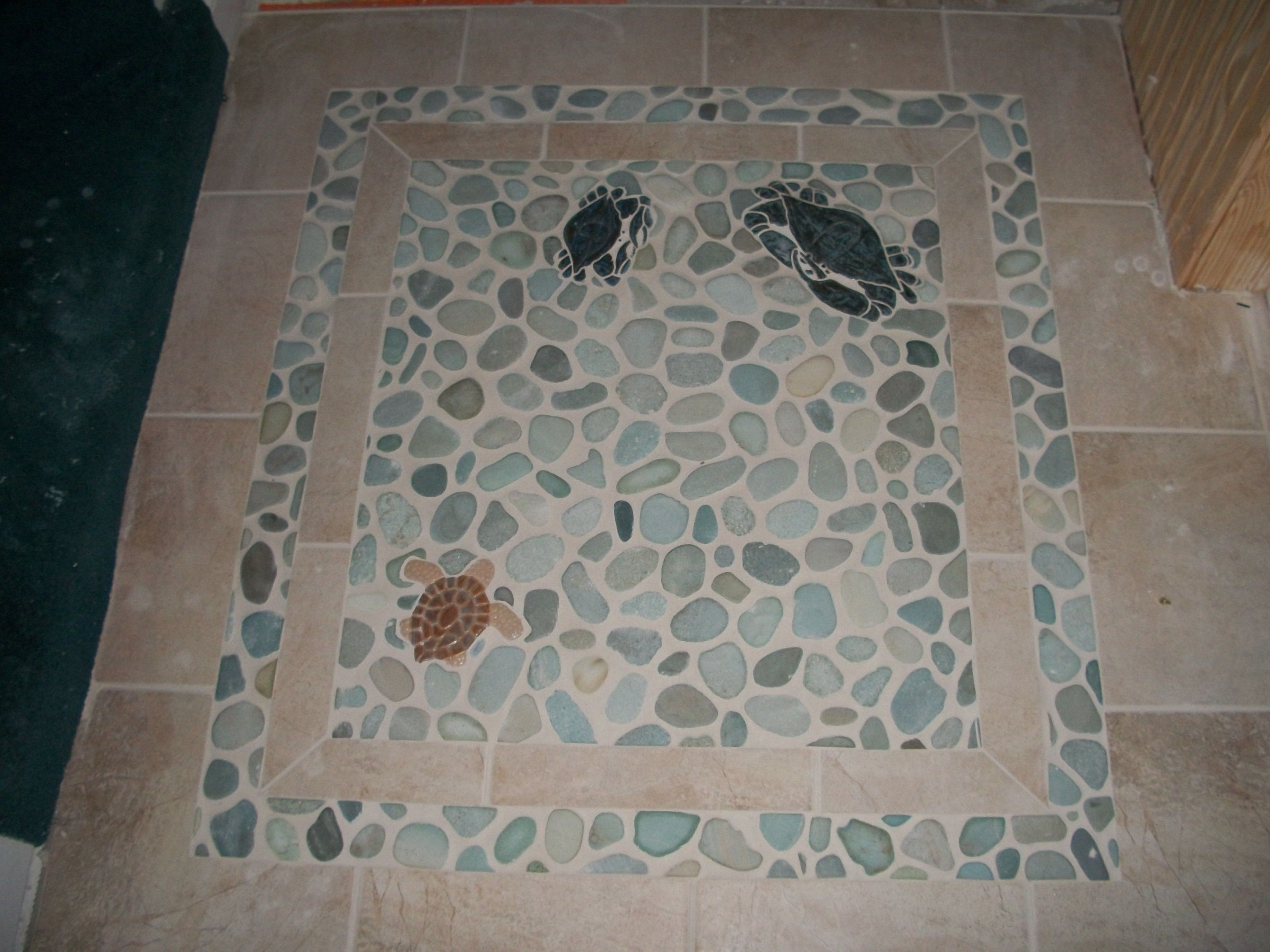 A tile inlay using cape cod tile works lg small crab turtle a tile inlay using cape cod tile works lg small crab turtle surrounded in dailygadgetfo Image collections