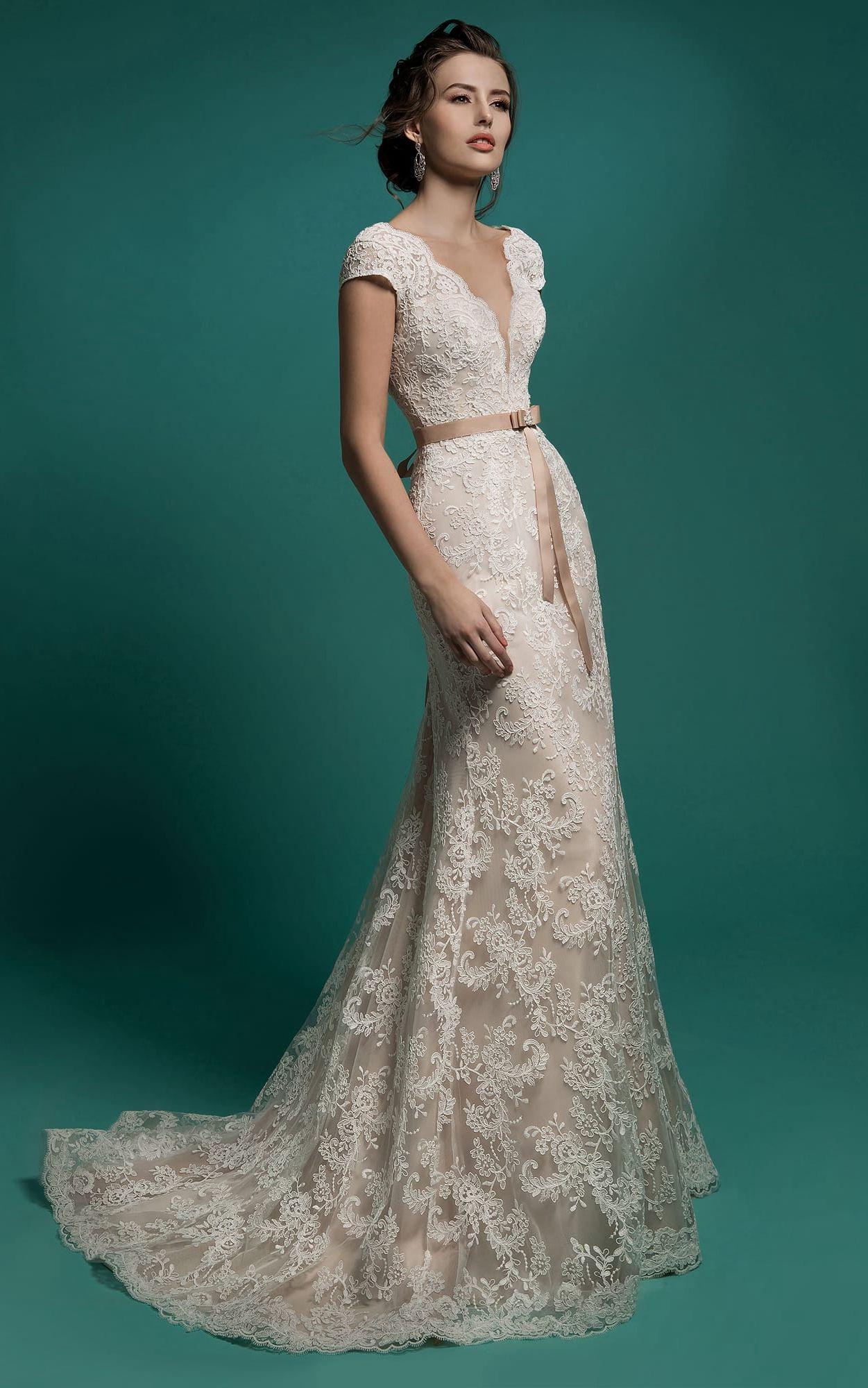 Long sleeve v neck wedding dress  Mermaid FloorLength VNeck CapSleeve Zipper Lace Dress With Sash