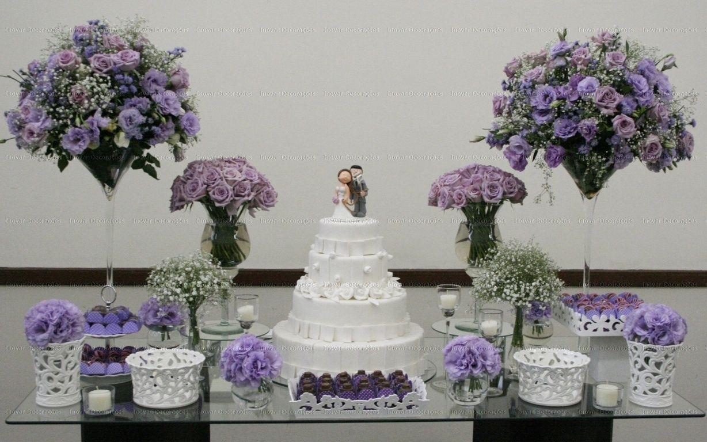 Decoracao De Sala Lilas ~ Decoração mesa de doces  lilás e roxo  arranjos em forma de