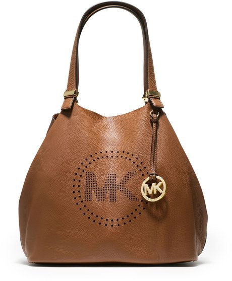 Michael Kors MK Large Perforated Logo Grab Bag - Lyst. Oh a8dde7dbdb43e