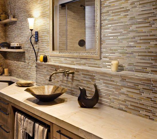 Modern Brick Backsplash Kitchen Ideas: A Little Rustic And Modern Bathroom