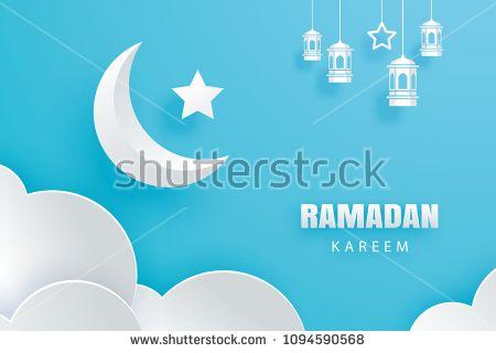 Ramadan kareem greeting card moon and stars traditional lanterns ramadan kareem greeting card moon and stars traditional lanterns background eid mubarak paper art banner illustration design use for islamic flyer m4hsunfo