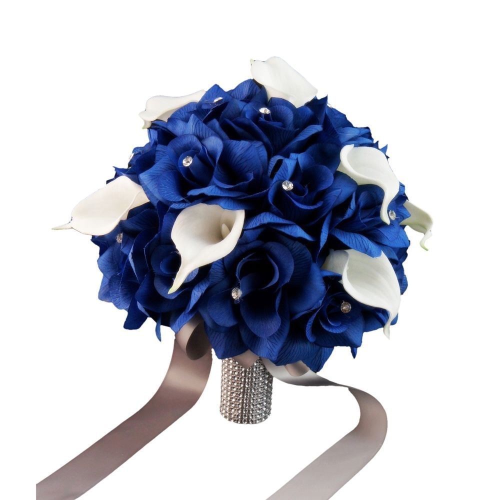 Wedding bouquet 10 royal blue roses and calla lily with wedding bouquet 10 royal blue roses and calla lily with rhinestone accents izmirmasajfo