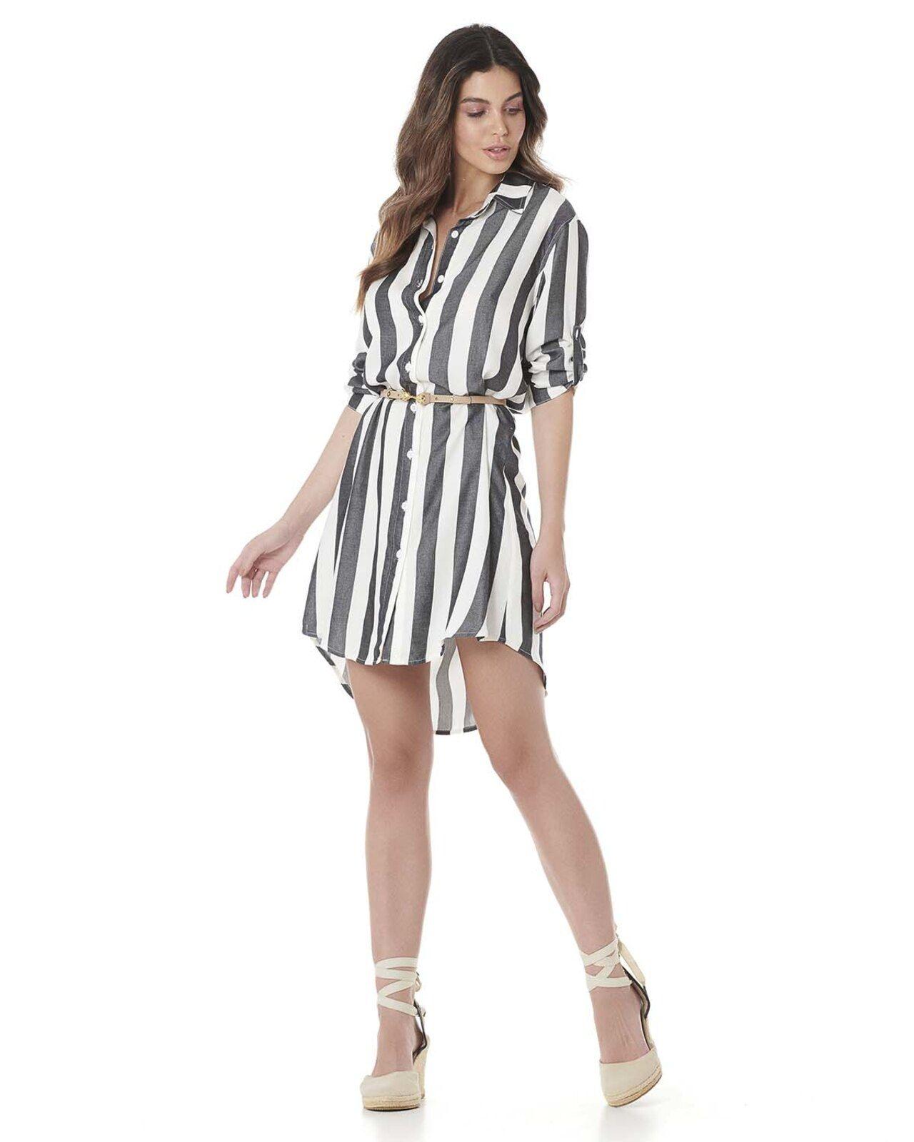 Vestido Serinah Tipo Camisa Listrado Moda Em 2019 Camisa