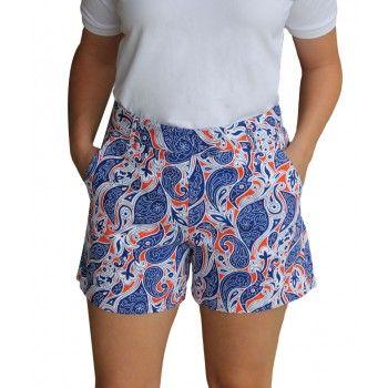 Women's Paisley 4 Inch Short Royal/Orange/White