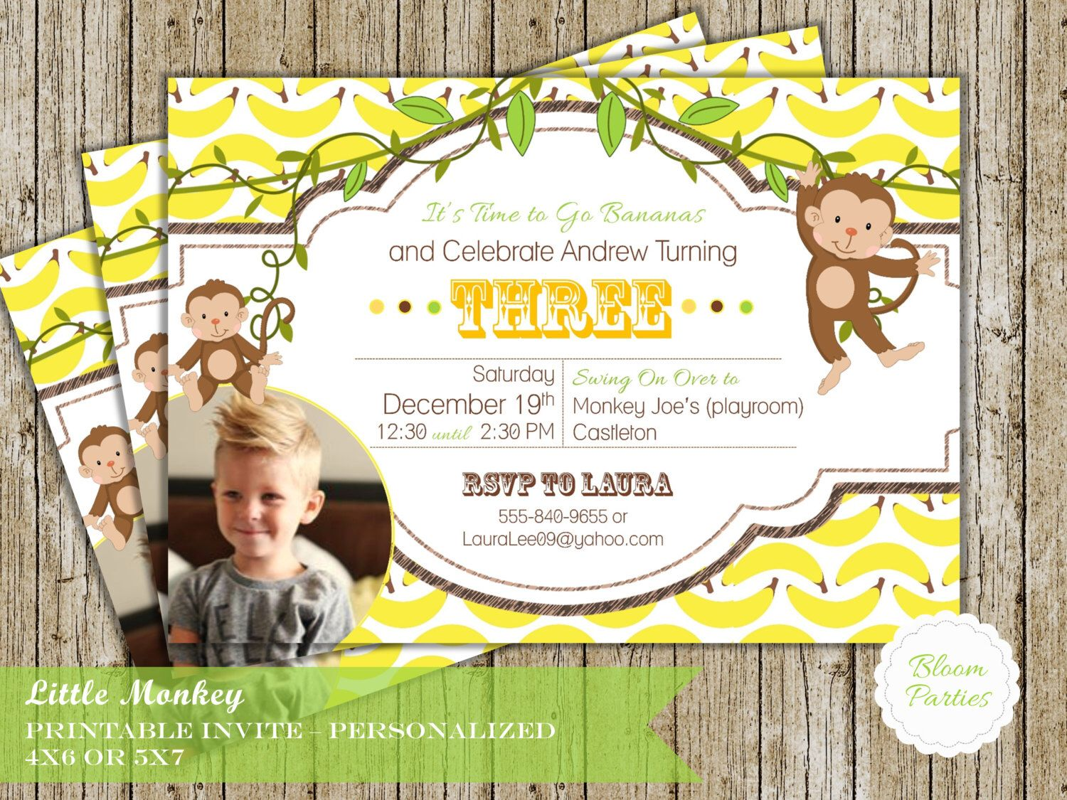 Monkey party invite little monkey first birthday invitation baby monkey party invite little monkey first birthday invitation baby boy bananas swing on over digital filmwisefo Image collections