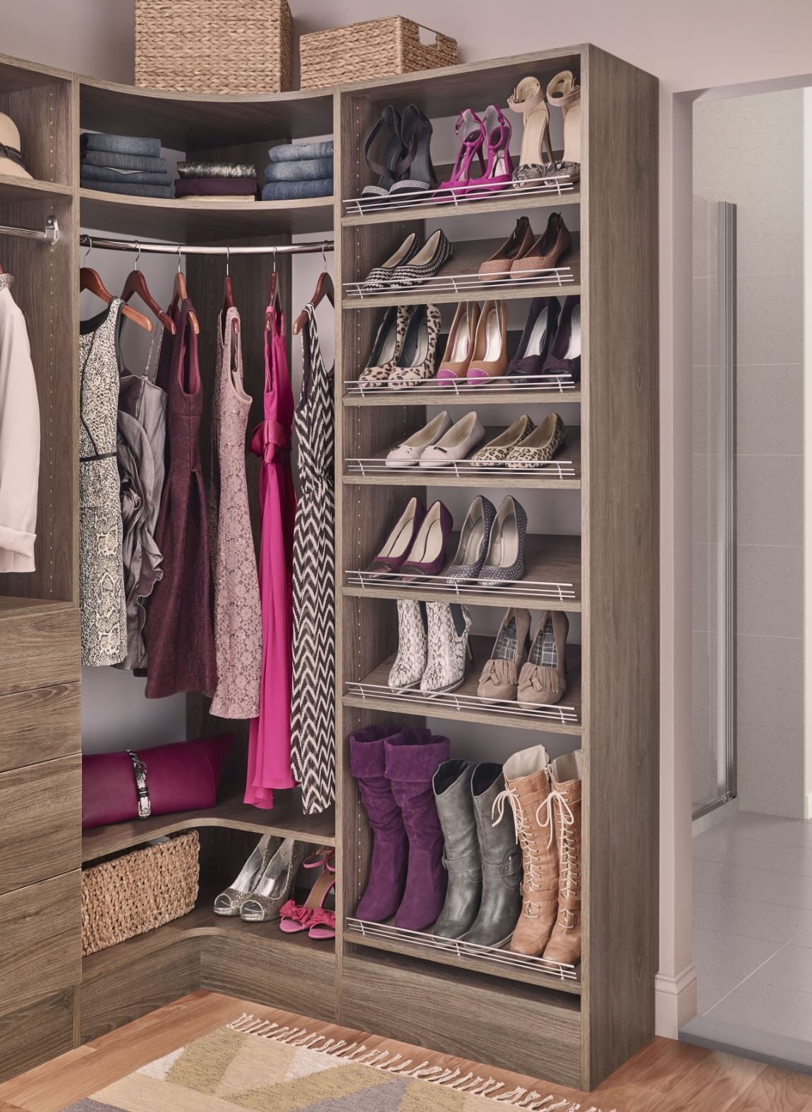 Let Your Shoes Become A Beautiful Gallery With Shoe Storage Like This Mastersuite