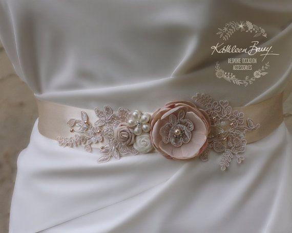 Blush Ivory Wedding Dress Sash Bridal Belt Floral With Lace Detail Color Options Available Style Emma Wedding Dress Sash Belt Bridal Belt Wedding Dress Sash