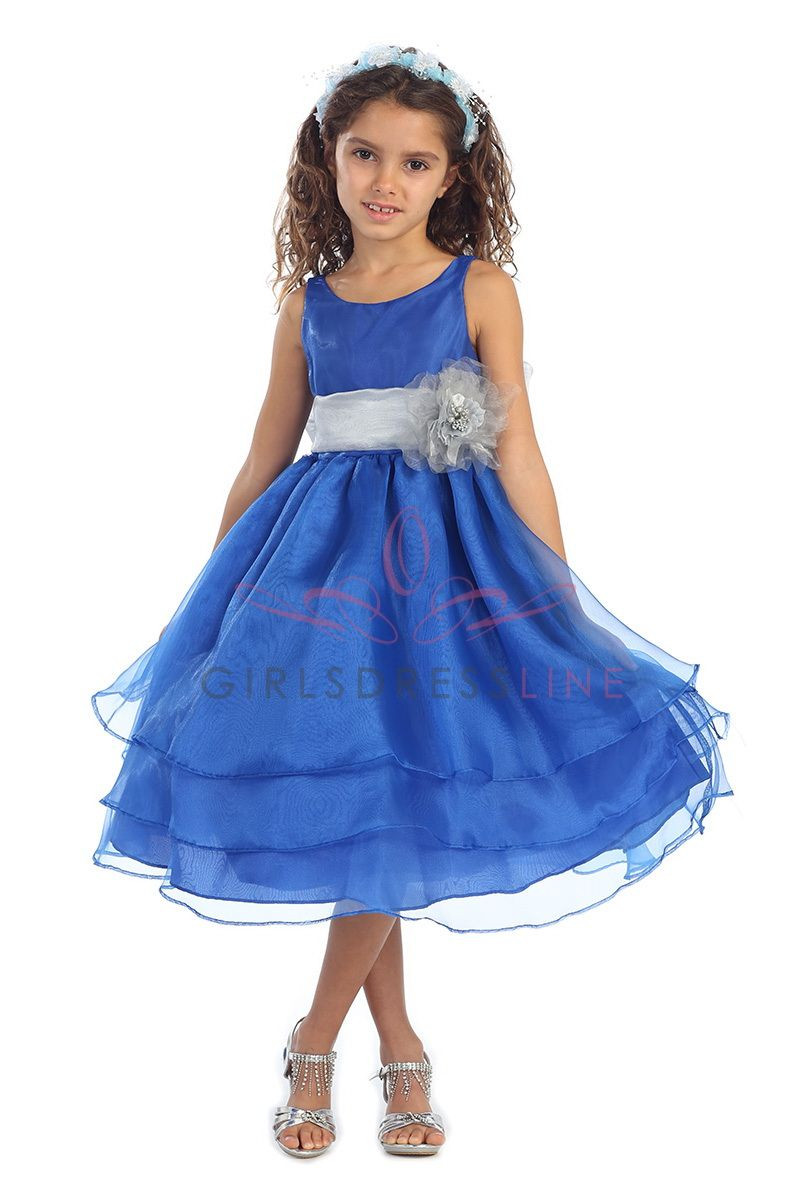 Royal Blue Organza Simple Layered Flower Girl Dress with Sash CD ...