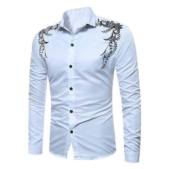 45f4596a826 2017 New Autumn Fashion Brand Men Clothes Slim Fit Male Long Sleeve Shirt  Print Casual Dress Men Shirts Social Plus Size M-3XL