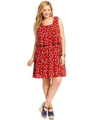 American Rag Plus Size Dress Sleeveless Floral Print A Line
