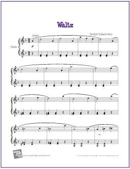 Waltz Kabalevsky With Images Piano Sheet Music Easy Piano