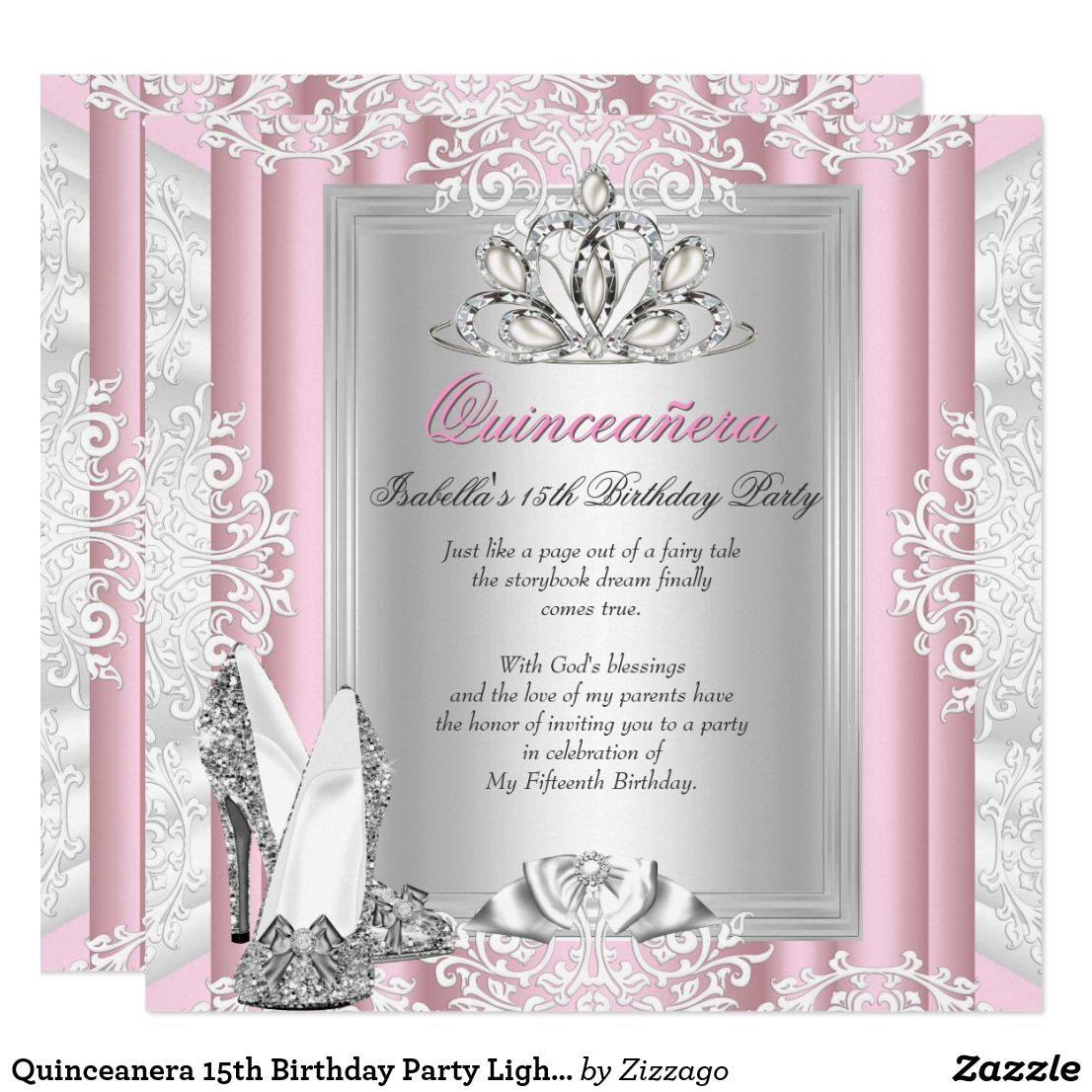Quinceanera 15th Birthday Party Light Pink Shoes Card | 15th ...