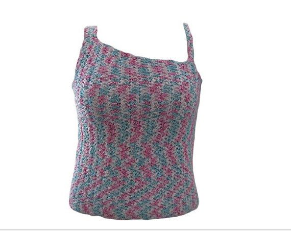 Pink and blue handmade crochet top by NeedleGraceBoutique on Etsy