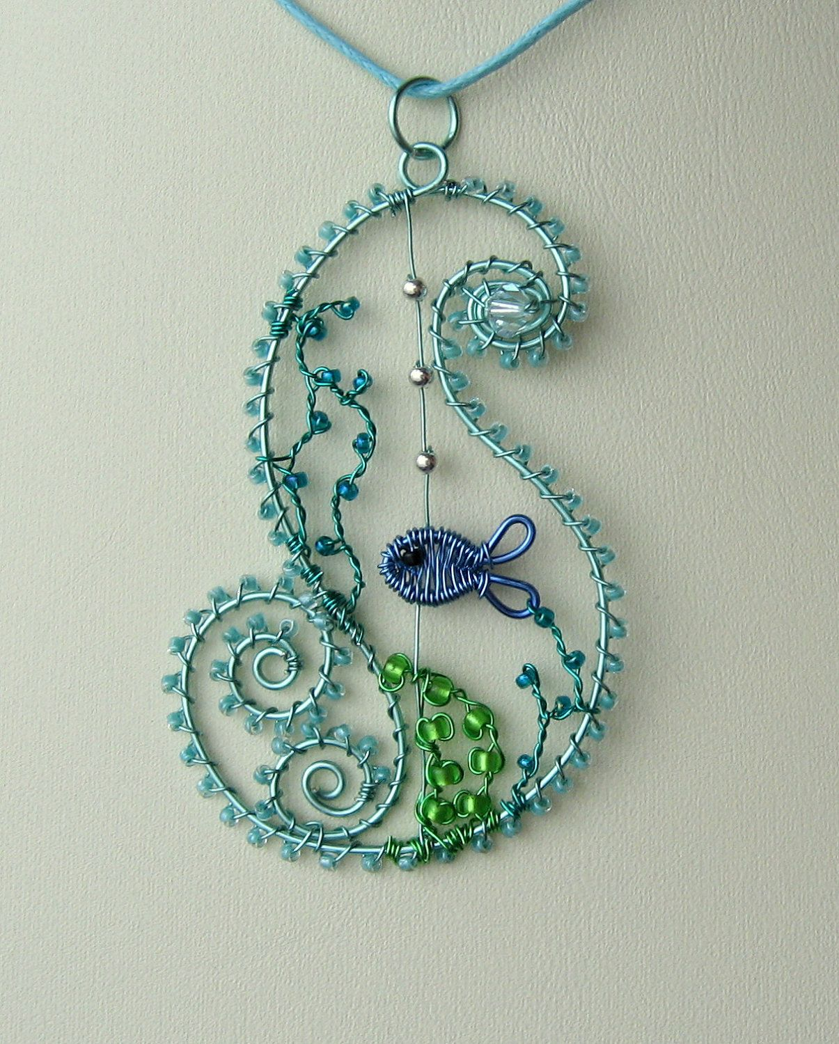 Ocean Wave wire wrapped sea themed pendant with free matching ...