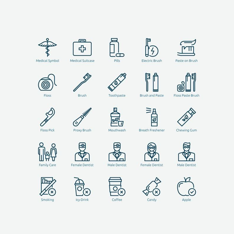 Dental Icons In Vector And Png Etsy In 2021 Medical Symbols Icon Dental
