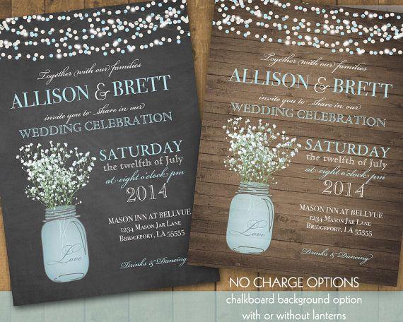 Attractive Mason Jar Wedding Invitation Suite   Rustic Country Babyu0027s Breath In Blue Mason  Jar   Country
