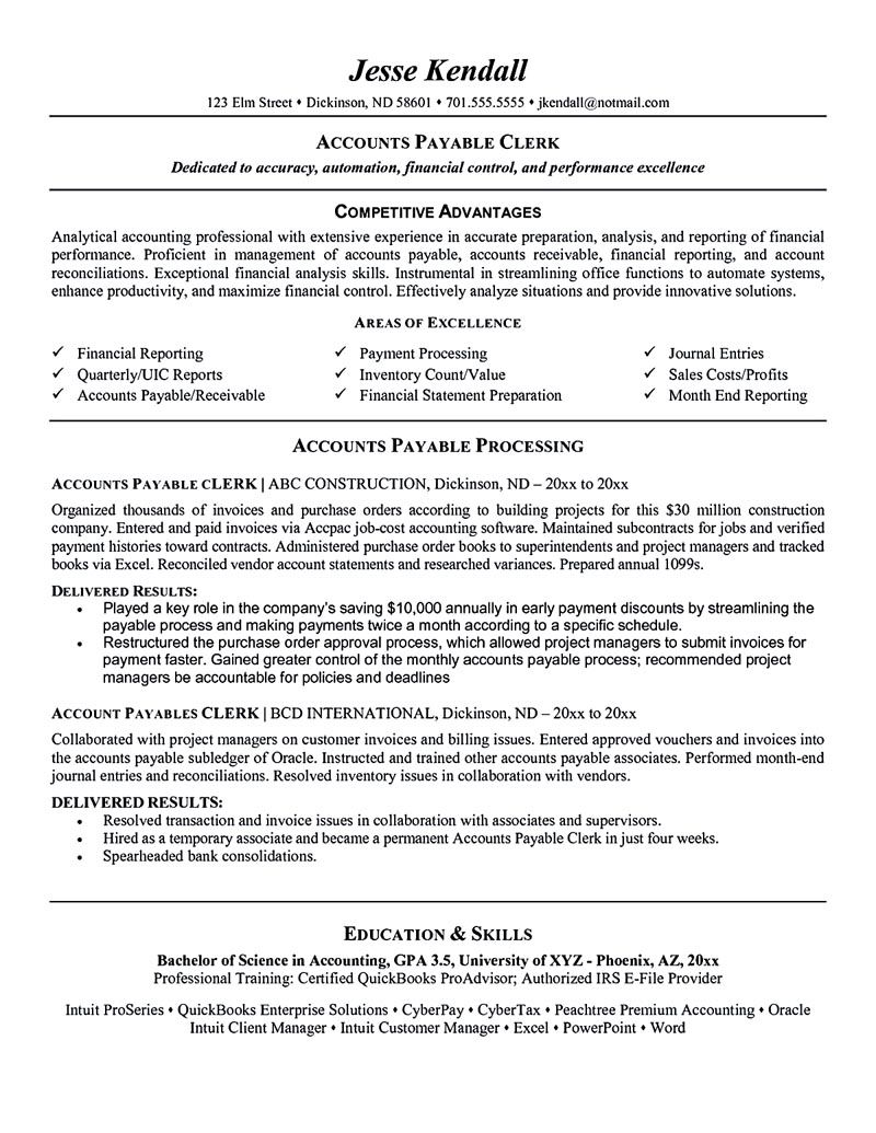 Accounting Resume Template Accounts Payable Manager Resume Accounts Payable Resume Accounts