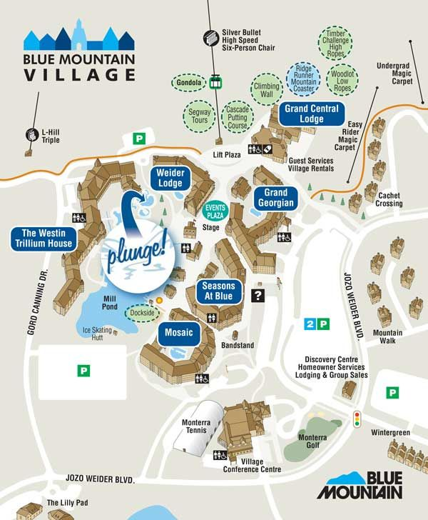 Blue Mountain Village Map Blue Mountain Village Map showing PLUNGE! | Canada | Village map