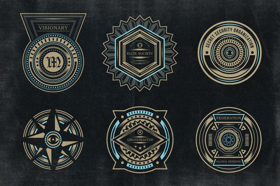 Secret Society Badges 3 by TSV Creative on Creative Market