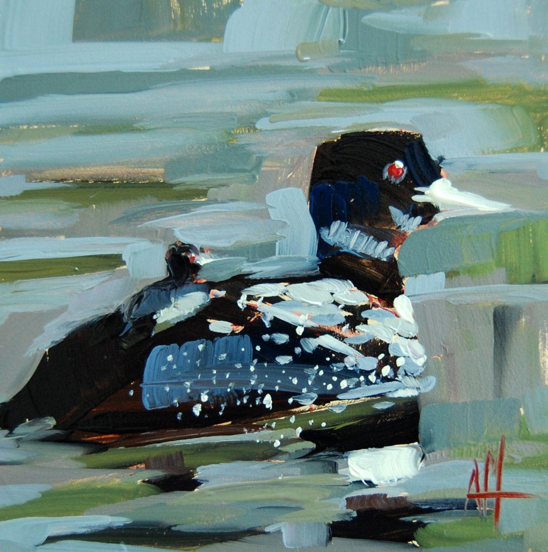 Minnesota Common Loon original bird oil painting by Angela