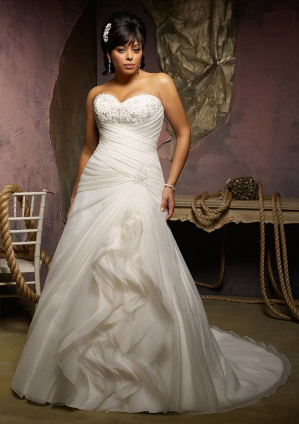 Simple Plus size wedding dress from Julietta by Mori Lee Beaded Embroidery on Organza check out