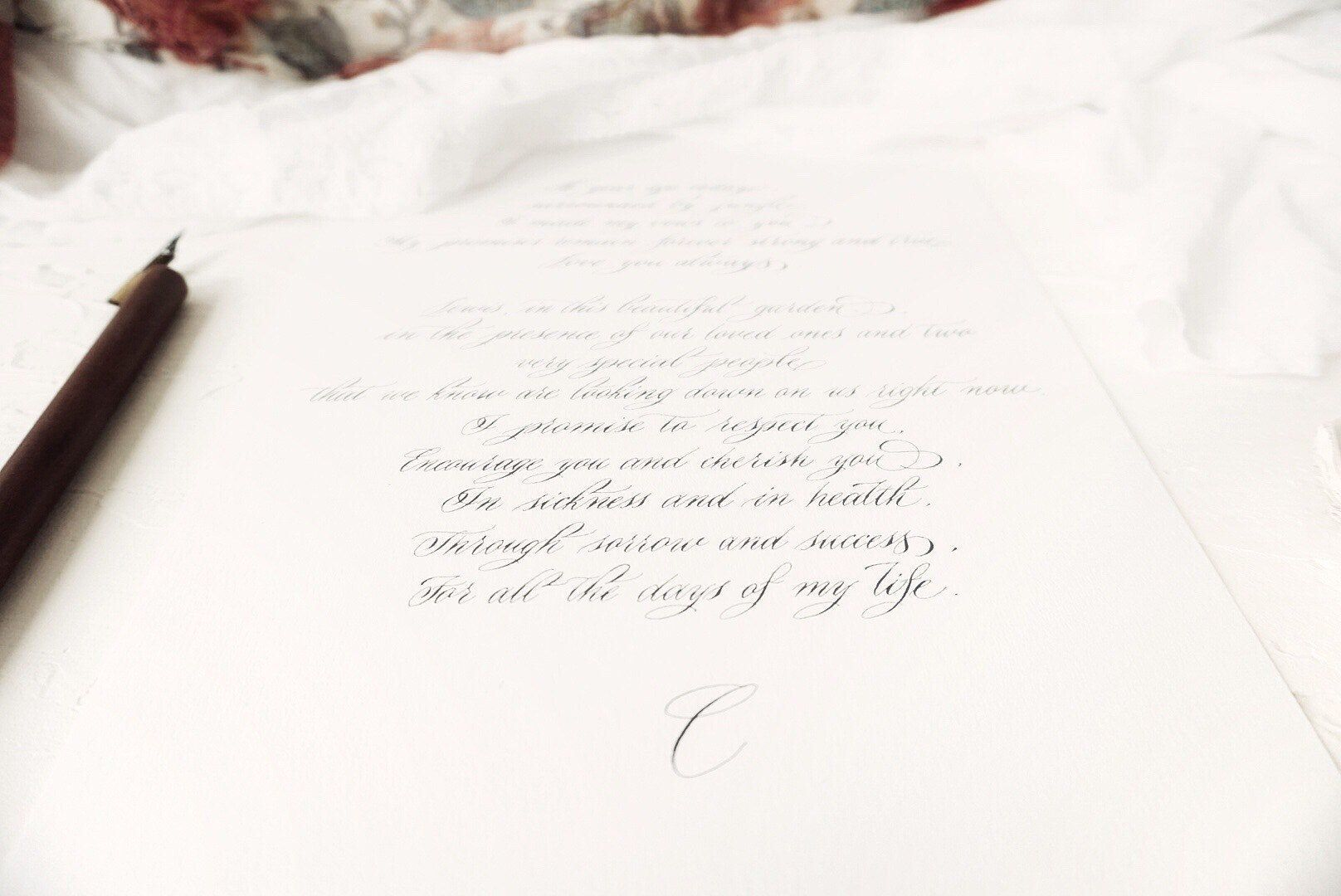 Custom calligraphy for wedding vows, quotes, poems, lyrics