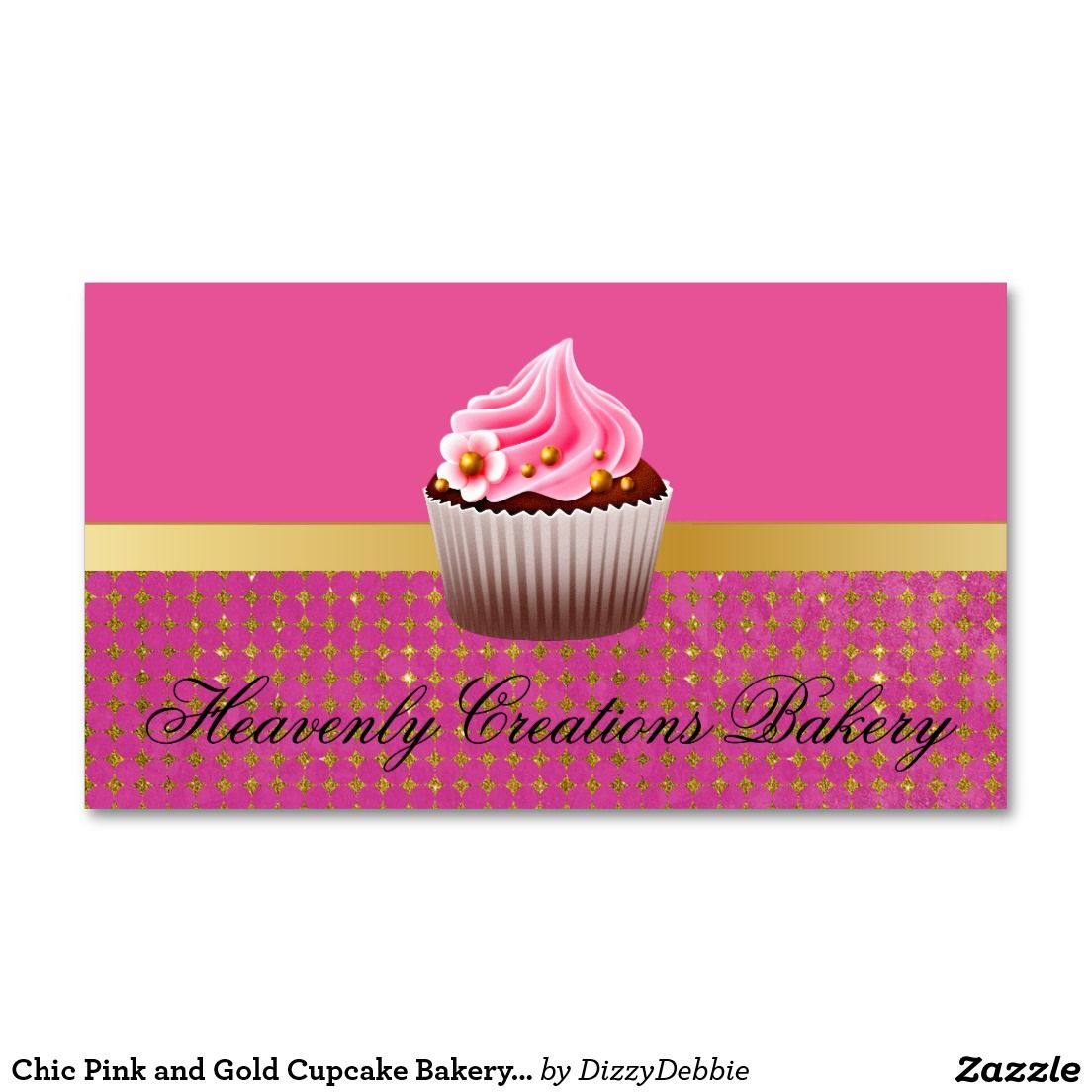 Chic Pink and Gold Cupcake Bakery Business Card | Bakery business ...