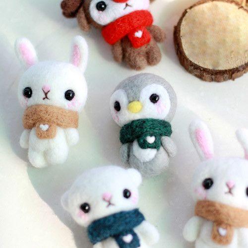 Needle Felted Felting project Animals Bear Scarf Cute Craft