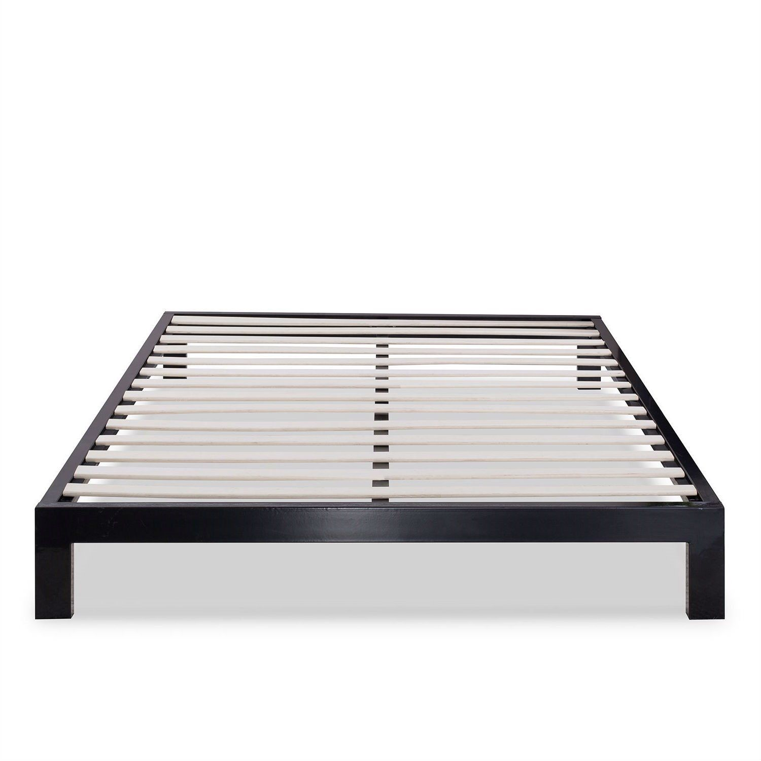 This Queen Modern Black Metal Platform Bed Frame with Wooden Slats ...