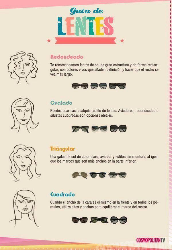 Tipo de lentes según la forma de la cara #sunglasses #mujer #lentes ...