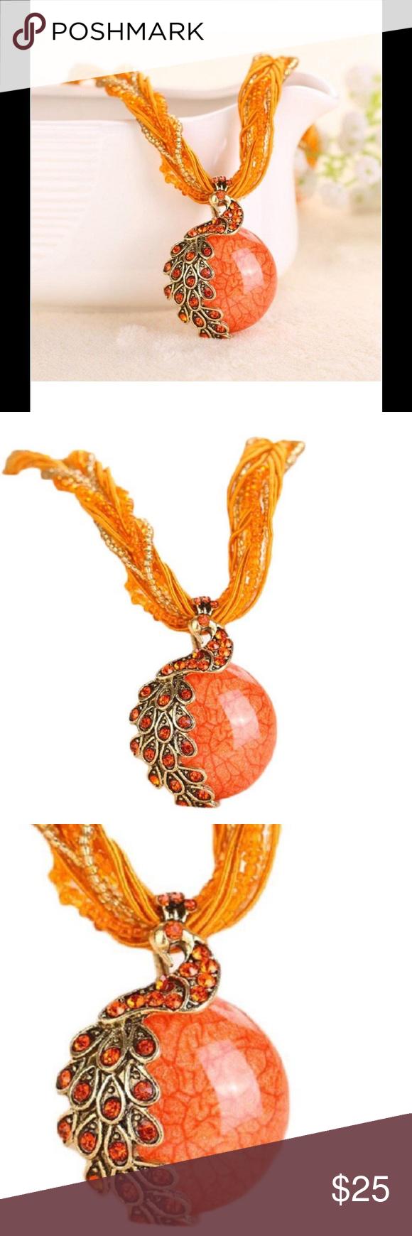 CRYSTAL PHOENIX PEACOCK NECKLACE In Orange & Gold Crystal Phoenix Peacock Necklace in Orange And Gold Jewelry Necklaces