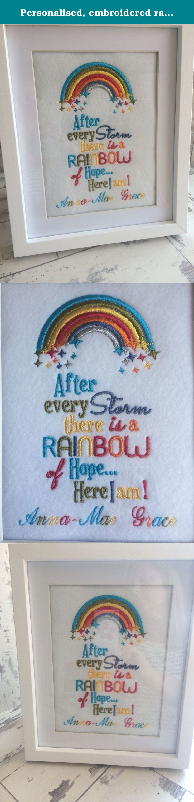 Personalised embroidered rainbow baby picture frame Newborn