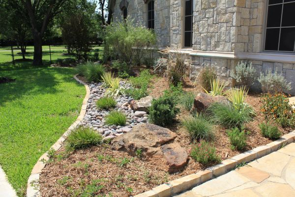 Rocks In Front Native Texas Landscapes And Stone Landscaping Cbs Services Smarter Sprinklers