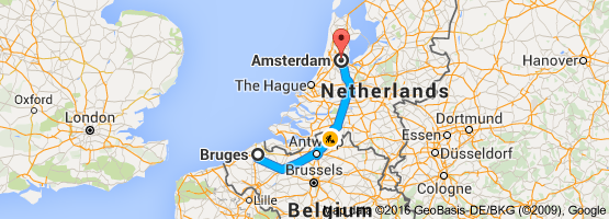 Map from Bruges Belgium to Amsterdam Netherlands Holland