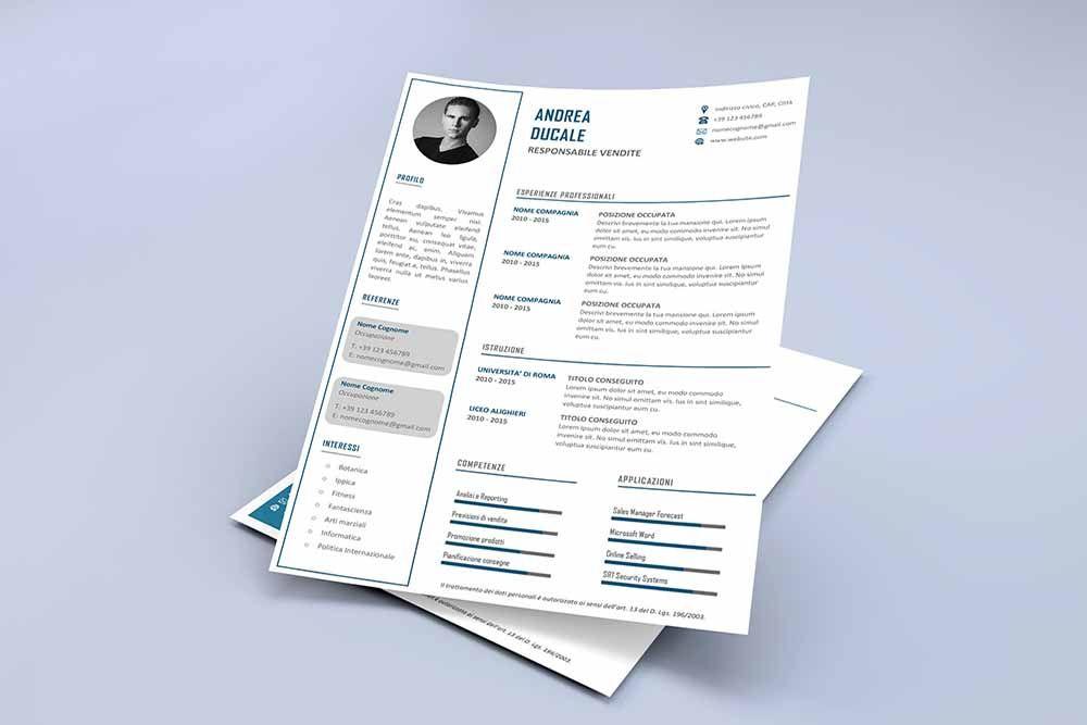 Modello Curriculum Vitae Da Scaricare E Compilare Formato Unisex