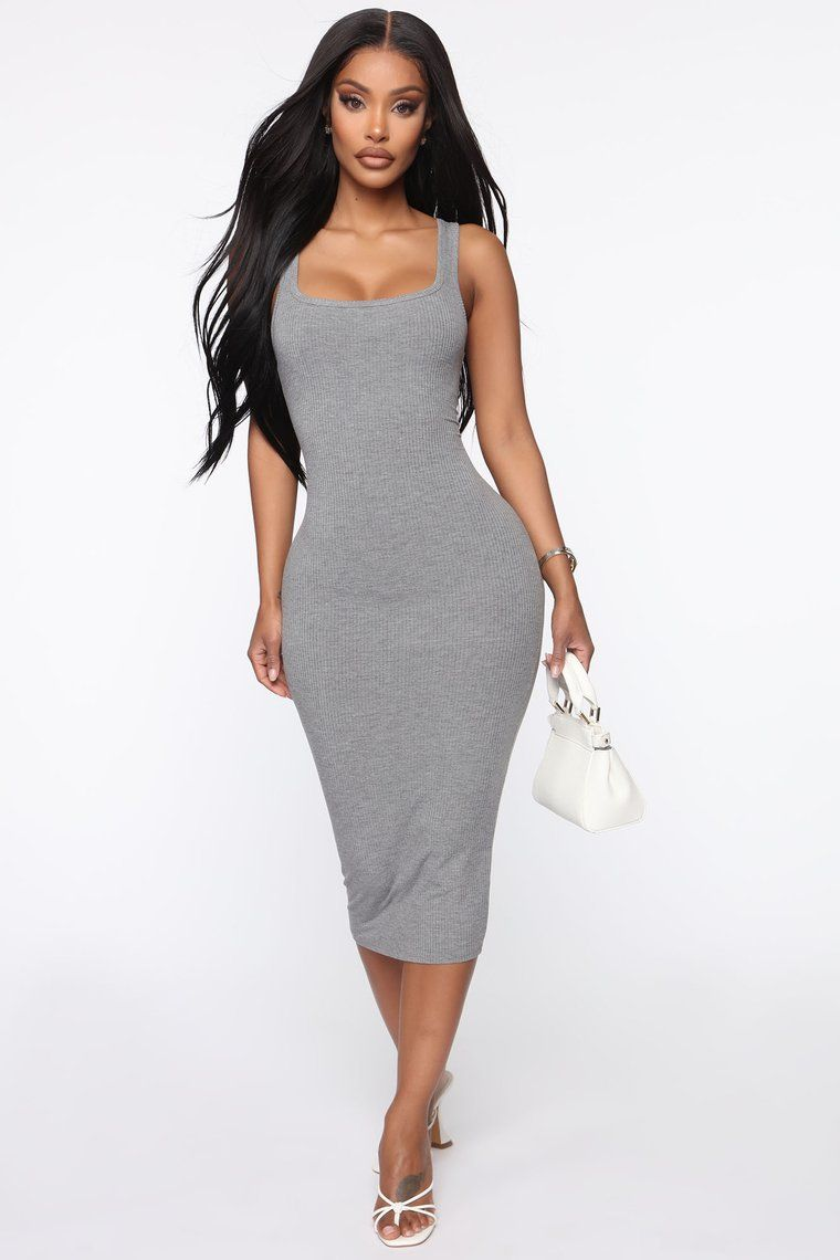 Give It My All Ribbed Midi Dress Heather Grey in 2020