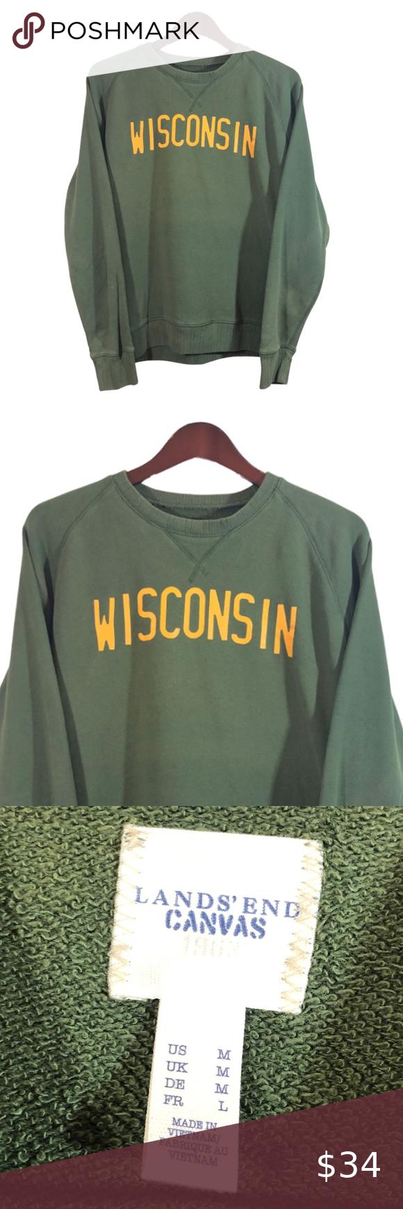 Wisconsin Green Lands End Sweatshirt Size L Sweatshirts Grey Hoodie Men Sweatshirt Shirt [ 1740 x 580 Pixel ]