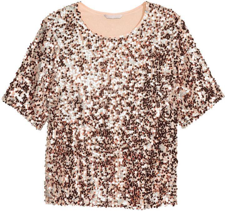 Wonderbaarlijk H&M - H&M+ Sequined Top - Rose gold-colored - Ladies | Sequins top TL-91