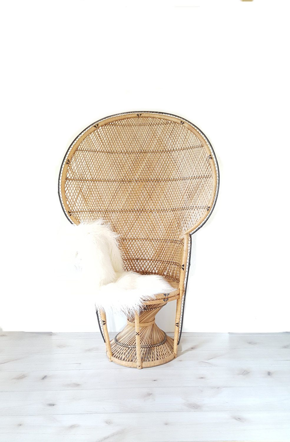 Large Fan Peacock Chair, Rattan Full Size, Woven Handmade 70s Wicker Chair,  Large Bohemian Style Peacock Chair By LUCKYHOMEFINDS On Etsy